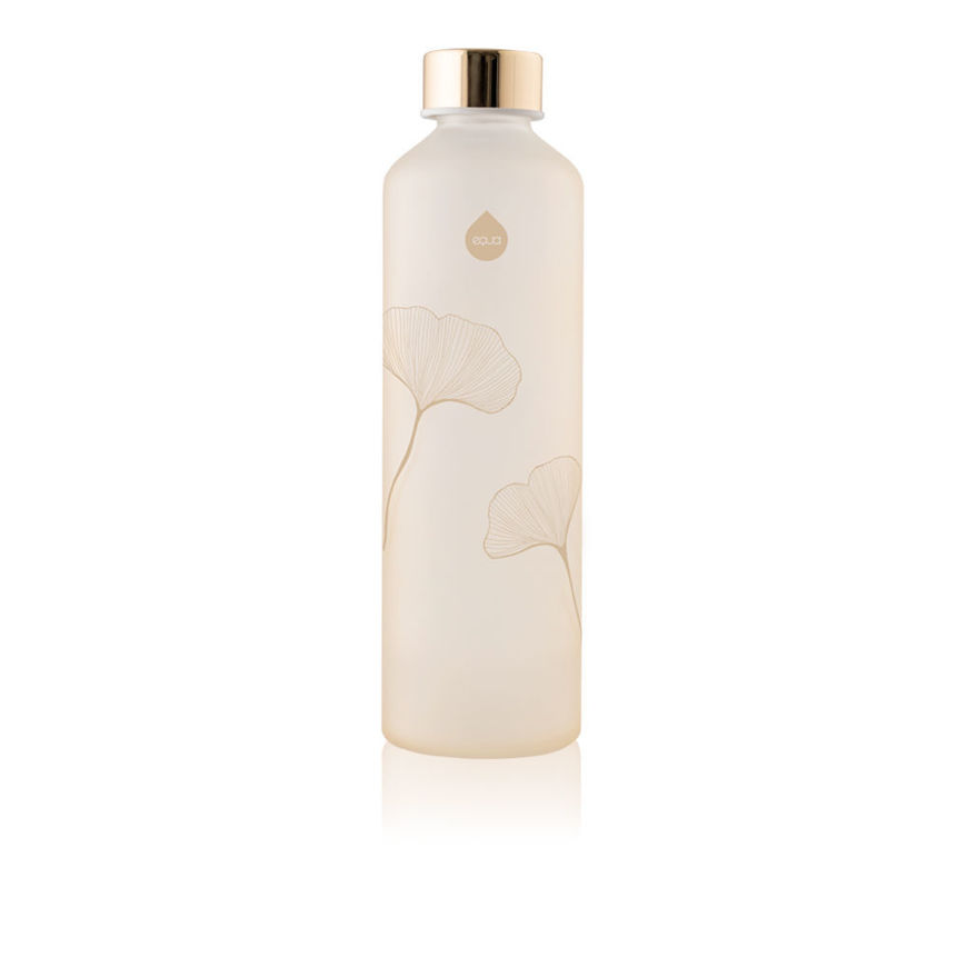 EQUA GINKGO SUSTAINABLE PINK GLASS WATER BOTTLE