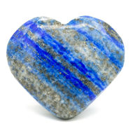 Picture of HEART WORRY STONE LAPIS LAZULI in a handmade bag