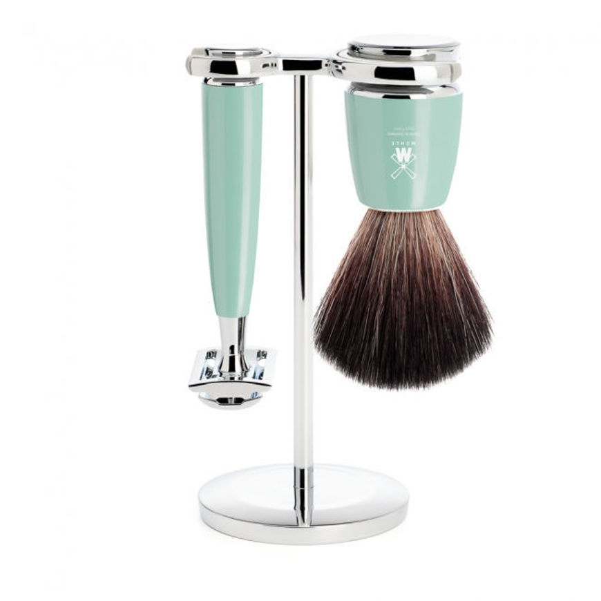 Picture of RYTMO Shaving set from MÜHLE, Black Fibre, handle resin mint