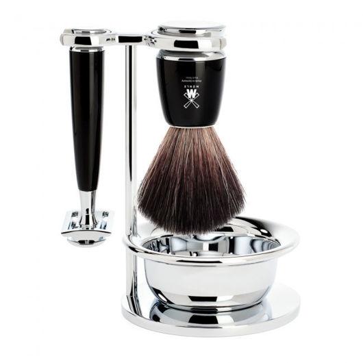 Image de RYTMO Set de rasage MÜHLE, Black Fibre, avec rasoir de sûreté, poignée en résine noir