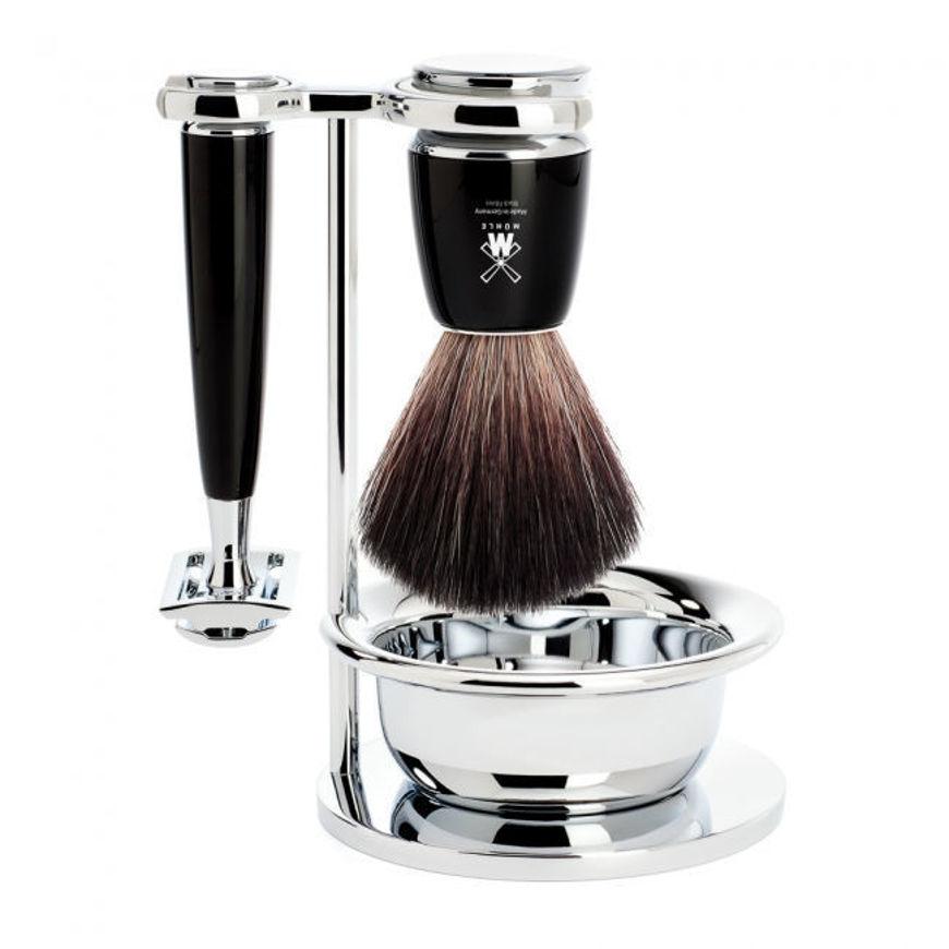 Image sur RYTMO Set de rasage MÜHLE, Black Fibre, avec rasoir de sûreté, poignée en résine noir