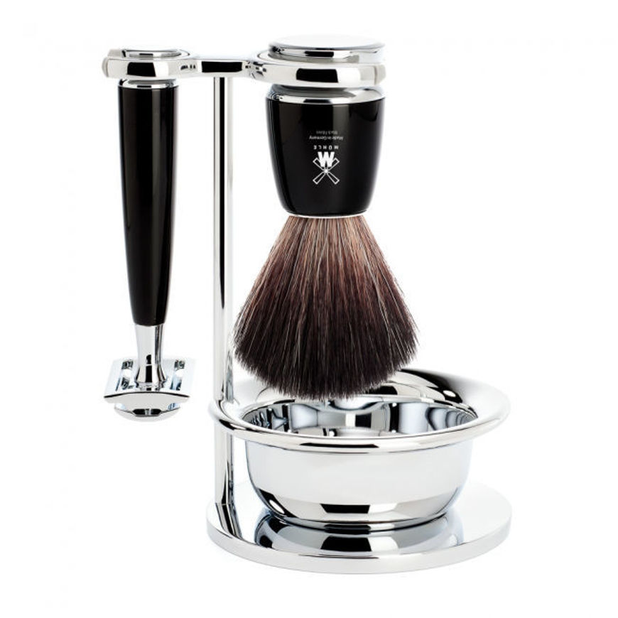 Picture of RYTMO Shaving set from MÜHLE, Black Fibre, handle black resin
