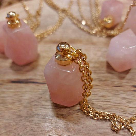 rose quartz bottle pendant